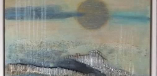 Abstract Landschap 1 Acryl,collage,gem.techniek op doek en in houten lijst van 53 bij 63