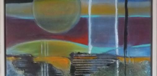 Abstract Landschap 2 Acryl,collage,gem.techniek op doek en in houten lijst van 53 bij 63