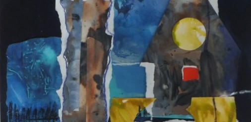 Dorp in de avond. Acryl-collage op karton in alum.lijst met passepartout van 60x40,5