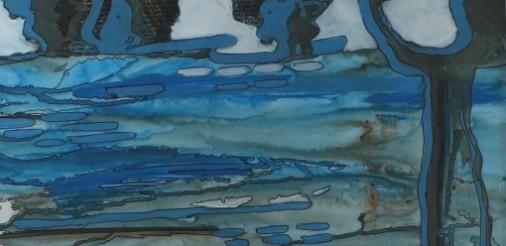 Landschap in blauw. Acryl op karton in alum.lijst met passepartout 40,5x40,5