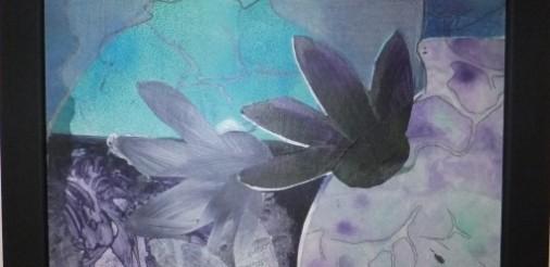 Vaas in paars op glas 2 Acryl gem.techn. op karton op glas