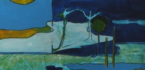 Waterrijk landschap. Acryl op karton in alum.lijst met passepartout 40,5x40,5