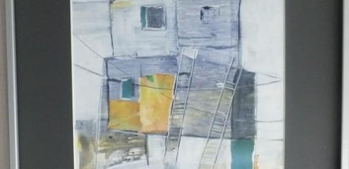 huis met ladders 1.Gemengde techniek, collage op karton in alluminium lijst met glas