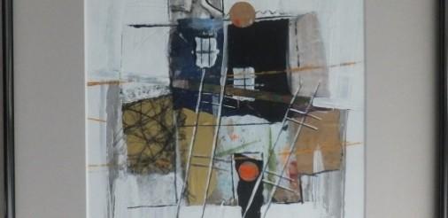 huis met ladders 2. Gemengde techniek,collage op karton in alluminium lijst met glas