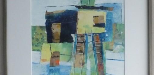 huis met ladders 3. gemengde techniek,collage op karton in bronskleurige alluminium lijst met glas